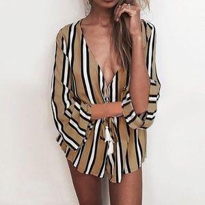 Pants - Boho Fashion Summer Deep V Neck Stripe Jumpsuit